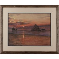 Framed and beautifully matted color print of a  Sunset at the Ocean, possibly Morro Bay, CA by Don