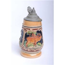 One authentic German beer stein with hunting game  motif Est:$60-100