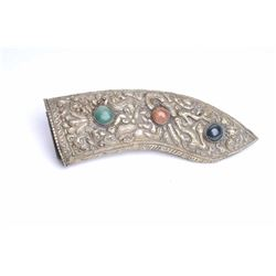"Ornate knife scabbard from Asia with hand worked  silver set with 3 gem stones. Measures 7 ½"" x 2  3"