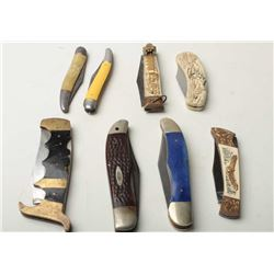 Lot of 8 misc. pocket knives, all different.       Est.:  $100-$200.