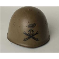 Italian WW II era metal helmet in very good  condition with liner, chin strap, netting and  majority