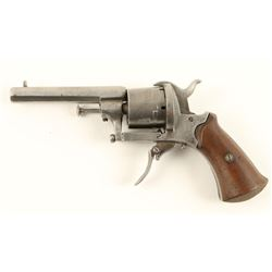 "French pinfire revolver, 7.65mm caliber, 3.5""  octagon barrel, S/N 22, wood grips in overall fair  t"