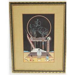 Large framed and matted limited edition (29/500) color print of sacred Indian burial ceremony by Arc