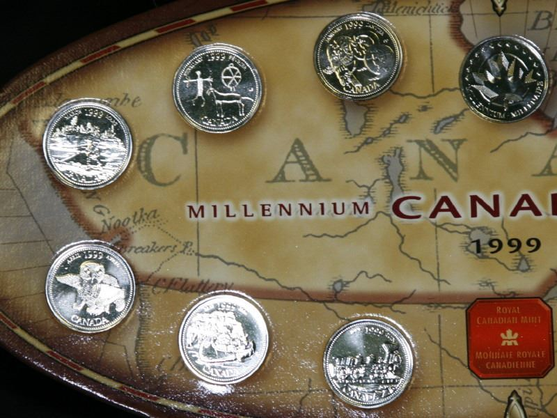 Royal Canadian Mint Millennium quarter coin on Collectable card.