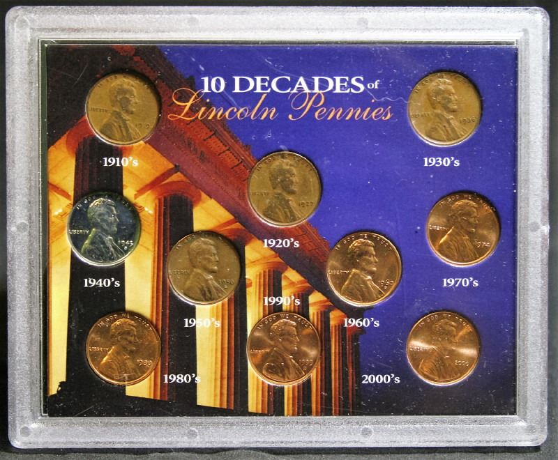 10 Decades of Lincoln Pennies