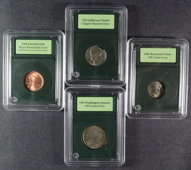 4 - U S  ERROR COINS - 2001 CENT BROAD STRIKE, 1964 NICKEL CLIPPED PLANCHET  and