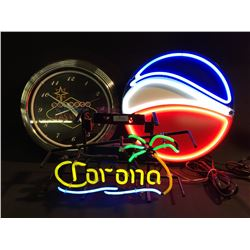 LOT OF 2 NEON SIGNS AND AN ELECTRIC CLOCK INC.: CORONA NEON SIGN, PEPSI NEON SIGN AND