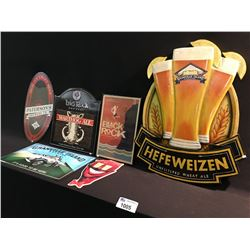 LOT OF 6 BEER SIGNS INCLUDING: GI HEFEWEIZEN WOODEN SIGN AND TIN SIGNS INC: HEINEKEN,