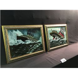 2 VINTAGE PAINTINGS BY FRANK ROSS: 'THE SINKING OF THE TITANIC' AND 'THE SINKING OF THE LUSITANIA'