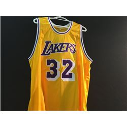 LOS ANGELES LAKERS #32 JERSEY, SIGNED 'HOF 02' BY MAGIC JOHNSON