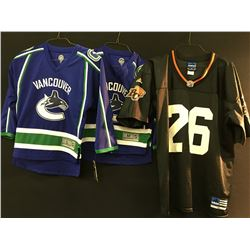 2 VANCOUVER CANUCK JERSEYS AND A BC LIONS JERSEY