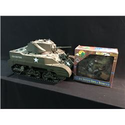 WW2 AMERICAN MODEL TANK AND U.S. ARMY DISPATCH RIDER AND MOTORCYCLE