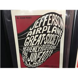 JEFFERSON AIRPLANE/GREAT SOCIETY/HEAVENLY BLUES BAND POSTER - 2ND PRINTING - DISPLAYS UNION LOGO