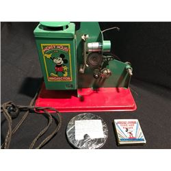 1937 MICKEY MOUSE MOVIE PROJECTOR WITH TWO ROLLS OF FILM:
