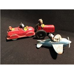 3 SUN RUBBER CO. TOYS INCLUDING: MICKEY MOUSE DRIVING A FIRE ENGINE WITH DONALD IN BACK ,