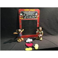 LOT OF 4 DISNEY WOODEN ITEMS INC: MICKEY MOUSE CHALK BOARD,