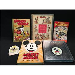 LOT OF 5 MICKEY MOUSE RELATED BOOKS INC: BOOK NO. 973 LINEN FINISH SHORT STORY BOOK,