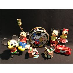 LARGE LOT OF MICKEY MOUSE FIGURES AND ITEMS INC: TIN CAN WITH LID, LAMP, WAGON AND MORE