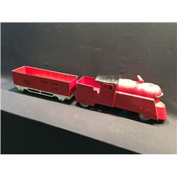 STREAMLINER PRE WWII STEARABLE LOCOMOTIVE WITH OPEN TOP BOX CAR, BOX CAR MARKED