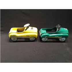 PAIR OF XONEX LIMITED EDITION COLLECTABLE VINTAGE VEHICLES INC: YELLOW TAXI AND CHAMP CONVERTABLE