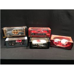 LOT OF 5 VINTAGE REPLICA CARS INC: BMW JETTA 250 AND CAMPER, '61 CHEVROLET IMPALA, '57 MERCEDES