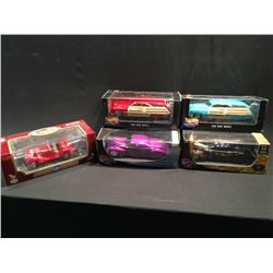 LOT OF 5 VINTAGE REPLICA CARS INC: '50 MERC WOODY, LIMITED EDITION HOT WHEELS BLACK WITH FLAMES
