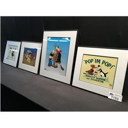 LOT OF 4 FRAMED ANIMATED ART SCENES INC: 'POP IM POP' WITH HIPPETY HOPPER AND SYLVESTER, POPEY AND