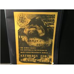 'KING KONG DANCE' POSTER-GREAT SOCIETY/BIG BROTHER/GRASS ROOTS/QUICKSILVER 2ND PRINTING, TAN INK ON