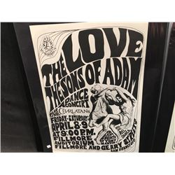 'DIRTY OLD MAN' POSTER - LOVE/SONS OF ADAM/CHARLATANS, 3RD PRINTING , WHITE INDEX WITH NO UNION .