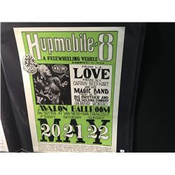 HUPMOBILE 8' POSTER - LOVE/CAPTAIN BEEFHEART/BIG BROTHER. SAYS 4-2 INCORRECTLY, W/DOUBLE H PRESS