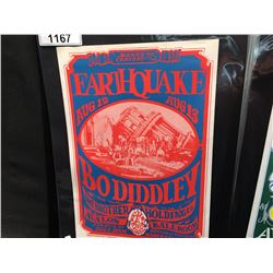 'EARTHQUAKE' POSTER - BO DIDDLY/BIG BROTHER AND THE HOLDING COMPANY. NO LETTER SEPERATION IN THE