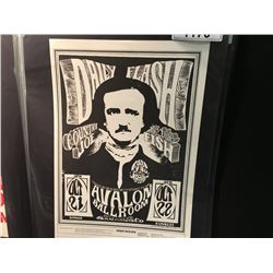 'EDGAR ALLAN POE' POSTER - DILY FLASH/COUNTRY JOE & THE FISH. 3RD PRINTING WITH CORRECT DATES,