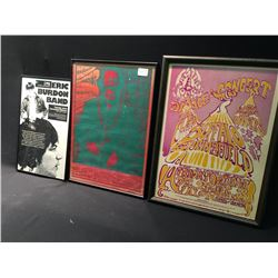 LOT OF 3 FRAMED CONCERT POSTERS
