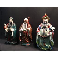 "LOT OF 3 CERAMIC FIGURES; 3 CHINESE WISE MEN, EACH APPROX. 29"" TALL"
