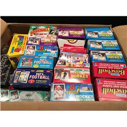 LARGE BOX OF ASSORTED UNOPENED SPORTS CARDS, PRIMARILY HOCKEY