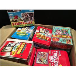 LARGE BOX OF ASSORTED UNOPENED SPORTS CARDS