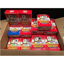LARGE BOX WITH 19 BOXES OF HOCKEY CARDS