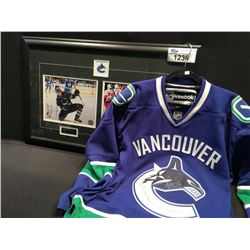 CANUCKS FRAMED DOUBLE PHOTO SIGNED BY BURROWS AND RAYMONE, CANUCKS JERSEY, MULTI SIGNATURES