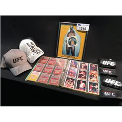 LOT OF WRESTLING / UFC MEMORABILIA INC: 2 UFC SIGNED HATS, 2 UFC SIGNED FIGHT GLOVES, SIGNED IRON