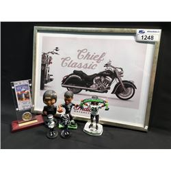 LOT OF ASSORTED ITEMS INC: SEATTLE SEAHAWK BOBBLE HEADS, INDIAN FRAMED POSTER, SUPER BOWL XLVIII