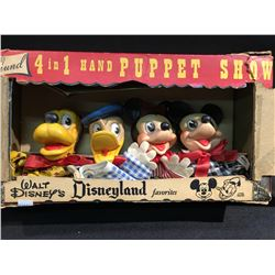 WALT DISNEY'S 4 IN 1 HAND PUPPET SHOW BY GUND, ORIGINAL IN BOX, CIRCA 1950.