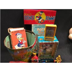 LOT OF VARIOUS WALT DISNEY COLLECTABLES INC: EARLY CHEIN TIN PLATE PAIL, WALT DISNEY COLORING TIN