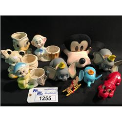 LOT OF WALT DISNEY COLLECTABLES INC: CERAMIC FIGURES, GOFFY FACE MASK, 2 DUMBO FIGURES AND MORE
