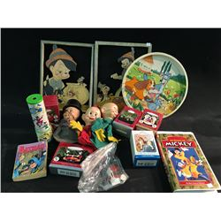 LOT OF WALT DISNEY COLLECTABLES INC: PINNOCHIO WOOD CUT OUTS, DWARF PUPPETS AND MORE