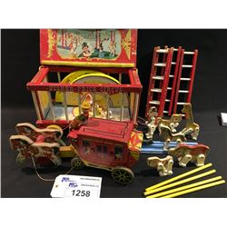 COLLECTION OF 1950'S FISHER PRICE WOODEN PULL TOYS INC.: CIRCUS WITH TRAIN CAR AND ANIMALS,