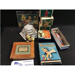 LOT OF DISNEY COLLECTABLES INC; POPEYE SPEED BOAT, JELLY MOLD, PINNOCHIO CARD GAME AND EARLY 1930'S