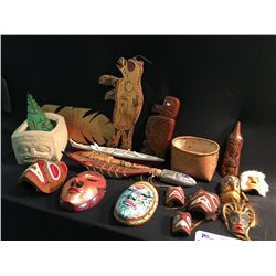 LARGE COLLECTION OF BC FIRST NATIONS COLLECTABLES INC: MINI MASKS, RATTLE, BASKET, AND CARVINGS.