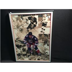 SIGNED AND FRAMED WAYNE GRETZKY MONTAGE / PICTURE