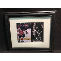 DUEL AUTOGRAPHED PHOTOS  BY WAYNE GRETZKY AND GORDIE HOWE