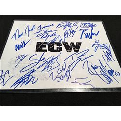 AUTOGRAPHED ECW WRESTLING STARS MULT. SIGNED CARD BY 20 MEMBERS INC. BALLS MAHONEY